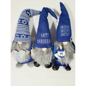 Rae Dunn Hanukkah Weighted Gnome Plushes Set Of 3
